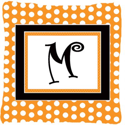 Monogram Initial Orange Polkadots Indoor/Outdoor Throw Pillow Letter: M
