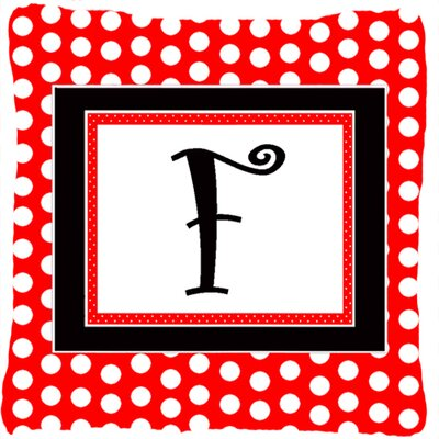 Monogram Initial Red Black Polka Dots Indoor/Outdoor Throw Pillow Letter: F