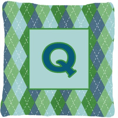 Monogram Initial Blue Argyle Indoor/Outdoor Throw Pillow Letter: Q