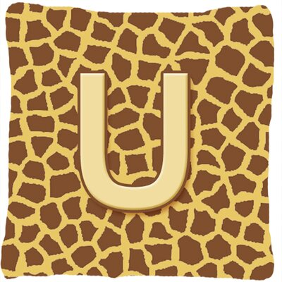 Monogram Initial Giraffe Indoor/Outdoor Throw Pillow Letter: U