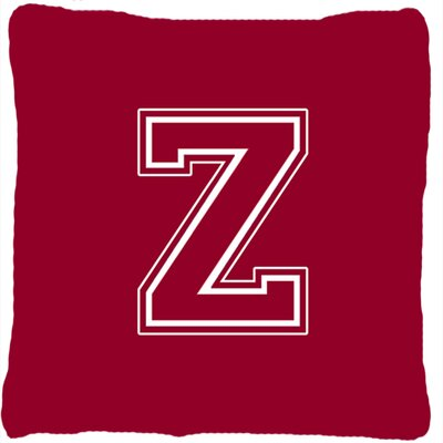 Monogram Initial Maroon and White Indoor/Outdoor Throw Pillow Letter: Z