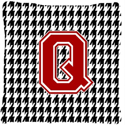 Monogram Initial Houndstooth Indoor/Outdoor Throw Pillow Letter: Q