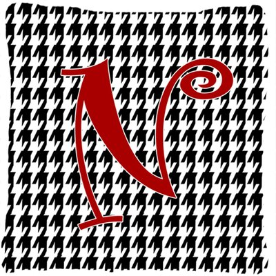 Monogram Initial Houndstooth Black Indoor/Outdoor Throw Pillow Letter: N