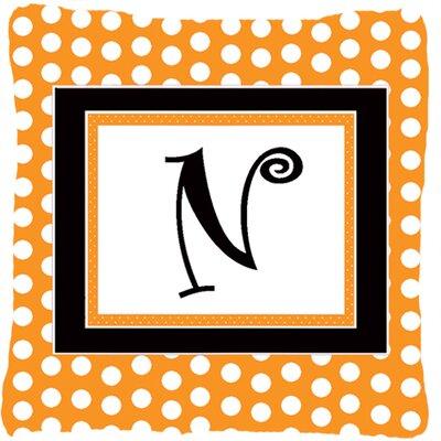 Monogram Initial Orange Polkadots Indoor/Outdoor Throw Pillow Letter: N