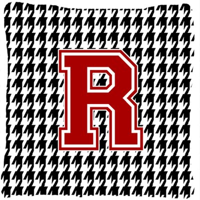 Monogram Initial Houndstooth Indoor/Outdoor Throw Pillow Letter: R