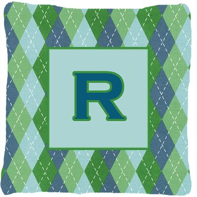 Monogram Initial Blue Argyle Indoor/Outdoor Throw Pillow Letter: R