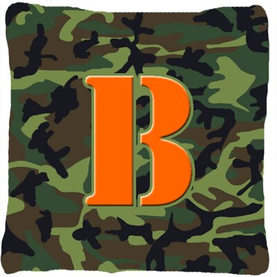 Monogram Initial Camo Indoor/Outdoor Throw Pillow Letter: B