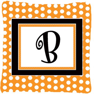 Monogram Initial Orange Polkadots Indoor/Outdoor Throw Pillow Letter: B