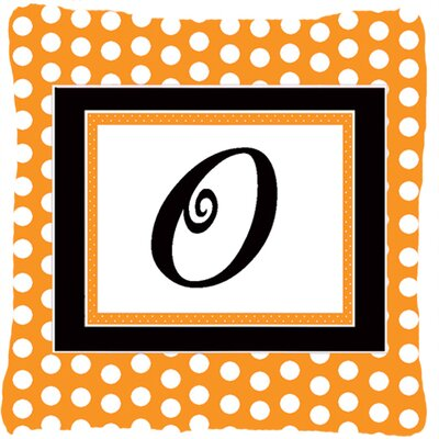 Monogram Initial Orange Polkadots Indoor/Outdoor Throw Pillow Letter: O