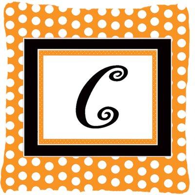 Monogram Initial Orange Polkadots Indoor/Outdoor Throw Pillow Letter: C