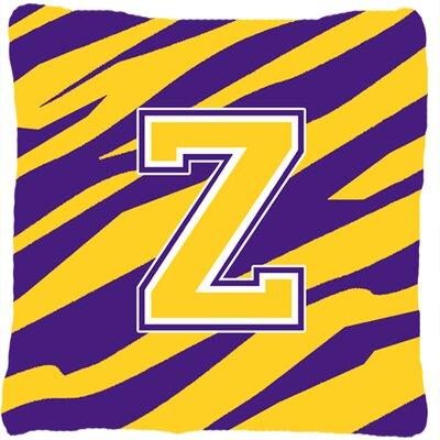 Monogram Initial Tiger Stripe Indoor/Outdoor Throw Pillow Letter: Z