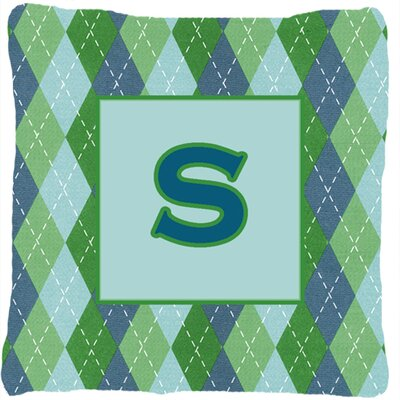Monogram Initial Blue Argyle Indoor/Outdoor Throw Pillow Letter: S