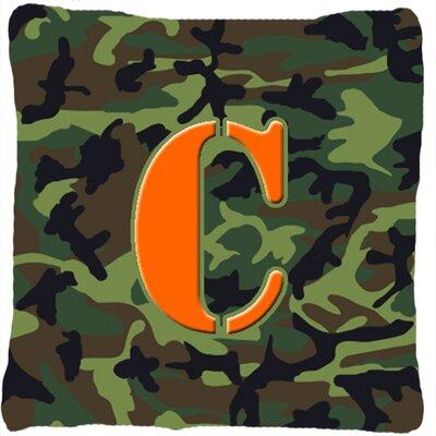Monogram Initial Camo Indoor/Outdoor Throw Pillow Letter: C