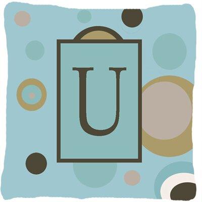 Monogram Initial Blue Dots Indoor/Outdoor Throw Pillow Letter: U