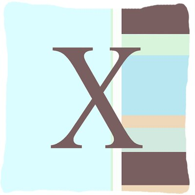 Letter Initial Monogram Blue Stripes Indoor/Outdoor Throw Pillow Letter: X