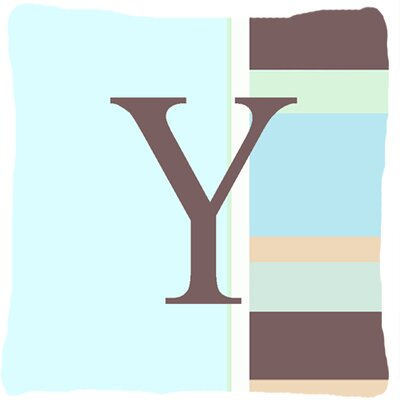 Letter Initial Monogram Blue Stripes Indoor/Outdoor Throw Pillow Letter: Y