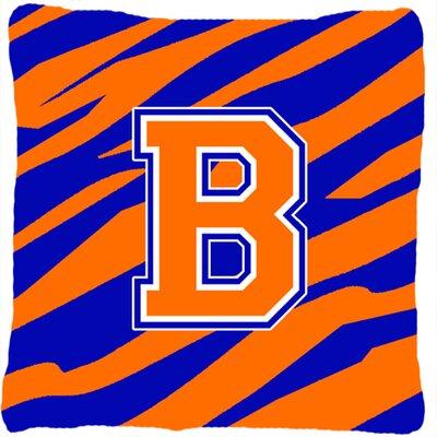 Monogram Initial Tiger Stripe Indoor/Outdoor Throw Pillow Letter: B