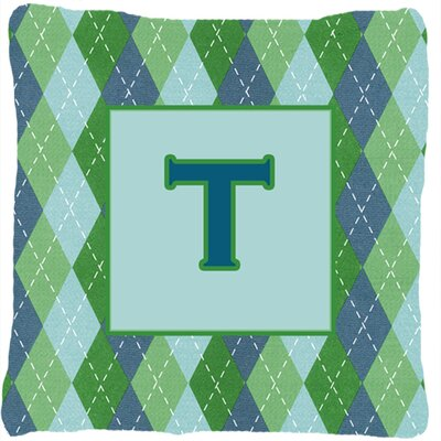 Monogram Initial Blue Argyle Indoor/Outdoor Throw Pillow Letter: T
