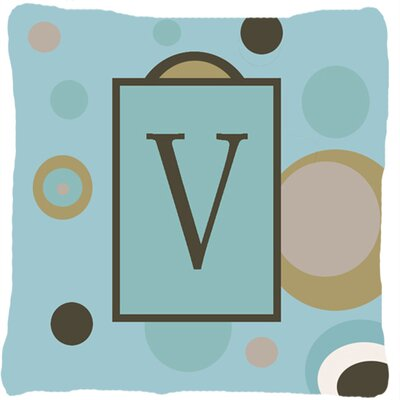 Monogram Initial Blue Dots Indoor/Outdoor Throw Pillow Letter: V