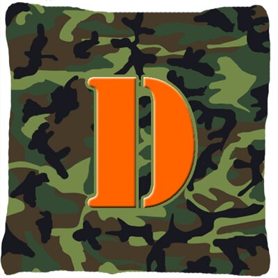 Monogram Initial Camo Indoor/Outdoor Throw Pillow Letter: D