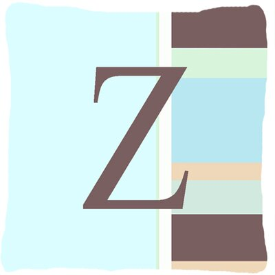 Letter Initial Monogram Blue Stripes Indoor/Outdoor Throw Pillow Letter: Z