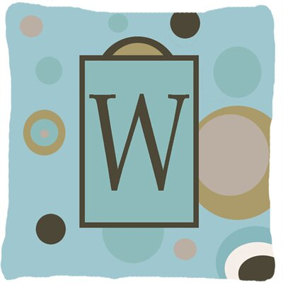 Monogram Initial Blue Dots Indoor/Outdoor Throw Pillow Letter: W