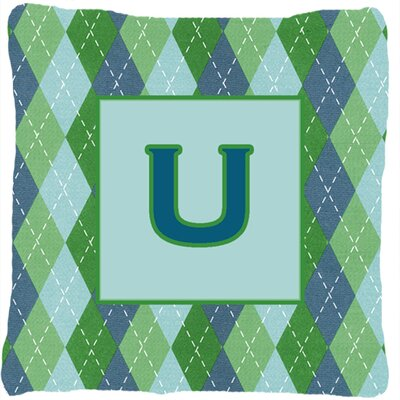 Monogram Initial Blue Argyle Indoor/Outdoor Throw Pillow Letter: U