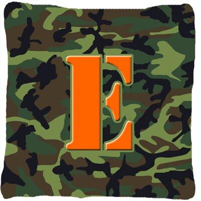 Monogram Initial Camo Indoor/Outdoor Throw Pillow Letter: E