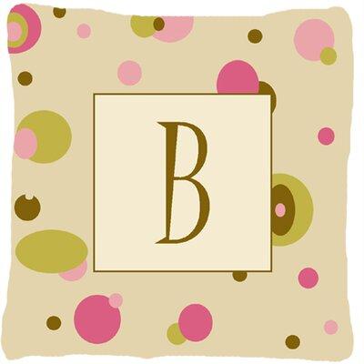 Monogram Initial Tan Dots Indoor/Outdoor Throw Pillow Letter: B