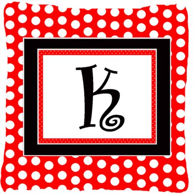 Monogram Initial Red Black Polka Dots Indoor/Outdoor Throw Pillow Letter: K