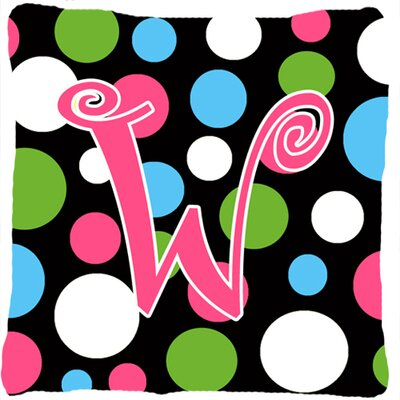 Monogram Initial Polkadots Indoor/Outdoor Throw Pillow Letter: W
