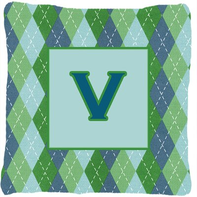 Monogram Initial Blue Argyle Indoor/Outdoor Throw Pillow Letter: V
