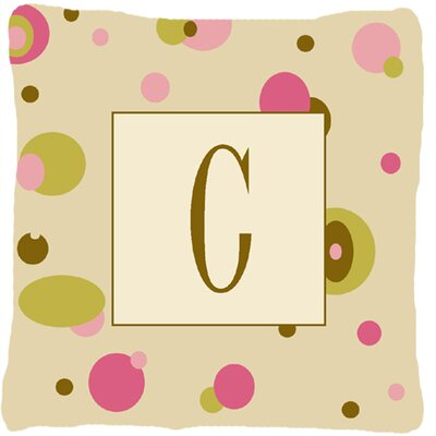 Monogram Initial Tan Dots Indoor/Outdoor Throw Pillow Letter: C