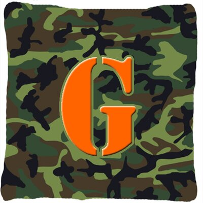 Monogram Initial Camo Indoor/Outdoor Throw Pillow Letter: G