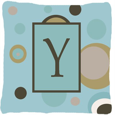 Monogram Initial Blue Dots Indoor/Outdoor Throw Pillow Letter: Y