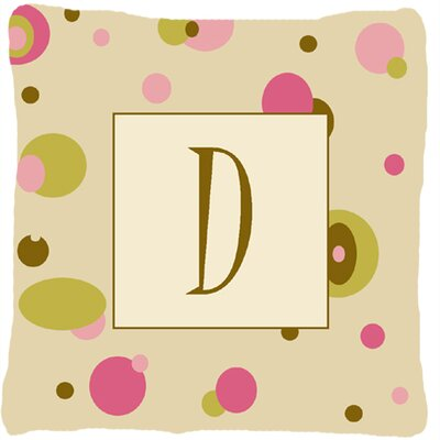 Monogram Initial Tan Dots Indoor/Outdoor Throw Pillow Letter: D