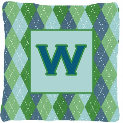 Monogram Initial Blue Argyle Indoor/Outdoor Throw Pillow Letter: W