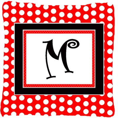 Monogram Initial Red Black Polka Dots Indoor/Outdoor Throw Pillow Letter: M