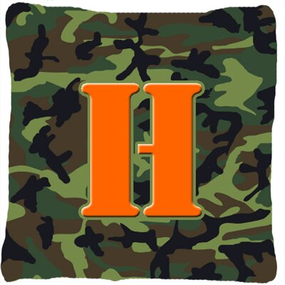 Monogram Initial Camo Indoor/Outdoor Throw Pillow Letter: H