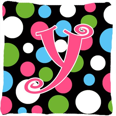 Monogram Initial Polkadots Indoor/Outdoor Throw Pillow Letter: Y