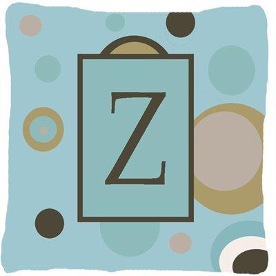 Monogram Initial Blue Dots Indoor/Outdoor Throw Pillow Letter: Z