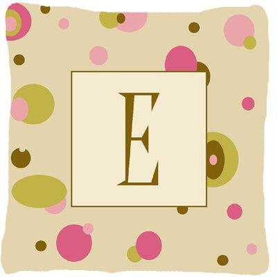 Monogram Initial Tan Dots Indoor/Outdoor Throw Pillow Letter: E