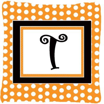 Monogram Initial Orange Polkadots Indoor/Outdoor Throw Pillow Letter: T