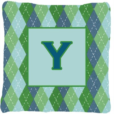 Monogram Initial Blue Argyle Indoor/Outdoor Throw Pillow Letter: Y