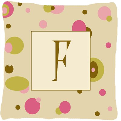 Monogram Initial Tan Dots Indoor/Outdoor Throw Pillow Letter: F