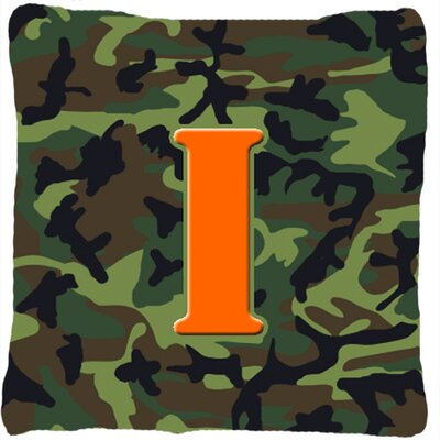 Monogram Initial Camo Indoor/Outdoor Throw Pillow Letter: I