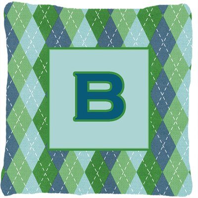 Monogram Initial Blue Argyle Indoor/Outdoor Throw Pillow Letter: B