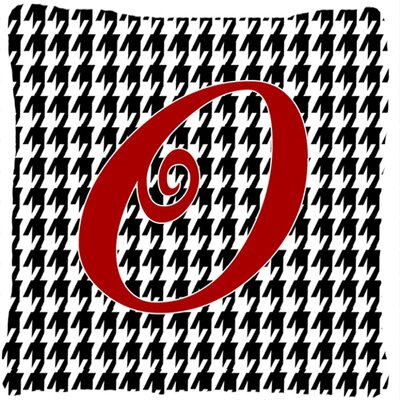 Monogram Initial Houndstooth Black Indoor/Outdoor Throw Pillow Letter: O