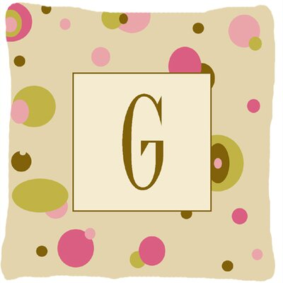 Monogram Initial Tan Dots Indoor/Outdoor Throw Pillow Letter: G