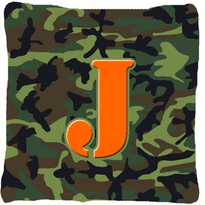Monogram Initial Camo Indoor/Outdoor Throw Pillow Letter: J